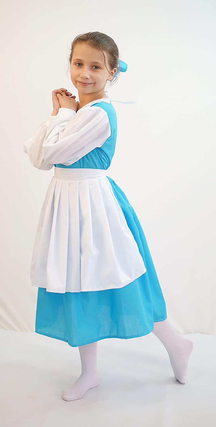 Stage-World Book Day-Beauty and The Beast BELLE BLUE DRESS WITH PINNY Child's Fancy Dress Costume - All Children's Sizes