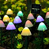 HULPPRE Set of 12pcs Multi-Color 8 Modes 600Mah Mini Mushroom Solar Lights Decor Solar Pathway Lights Outdoor Decoration Fair
