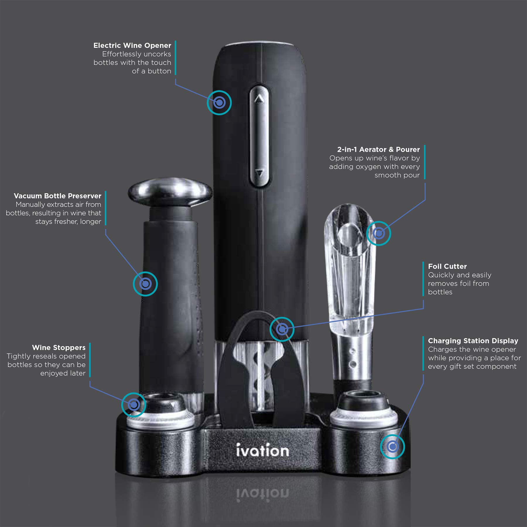Ivation Wine Gift Set, Includes Electric Wine Bottle Opener, Wine Aerator, Vacuum Wine Preserver, 2 Bottle Stoppers, Foil Cutter & Charging Base by Ivation (Image #3)