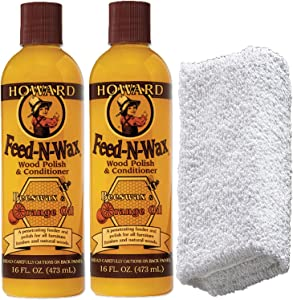 2 Howard Feed-N-Wax Wood Polish + 1 Daley Mint Cloth | Wooden Furniture Polish and Conditioner Kit with Orange Oil - FW0016, 16oz