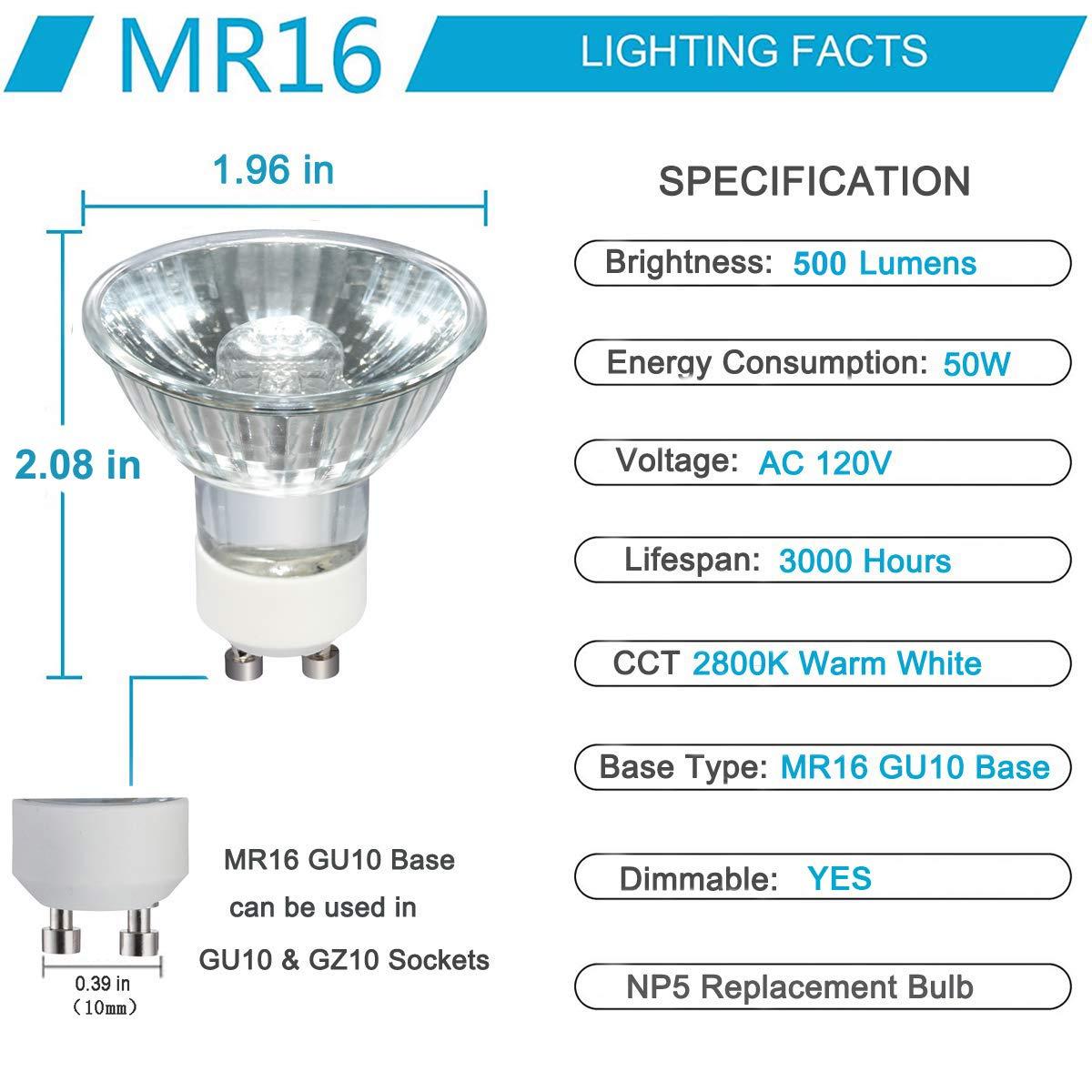 Landscape Lights GU10 Bulb 6pcs GU10 50W Halogen Flood Light Bulbs Tracking Light Nice Warm White MR16 GU10 with Glass Cover for Accent Light Dimmable Long Lasting Lifetime GU10 Base