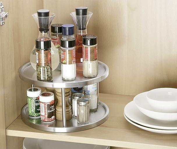 Amazon.com: Wenko 2335100 Plateau Tournant Acier Affiné 2 Étages: Home & Kitchen