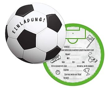 Friendly Fox Fussball Einladung Rund 12er Pack Einladungskarten Fussball Zum Kindergeburtstag Junge Madchen Geburtstagseinladungen Ideal Fur