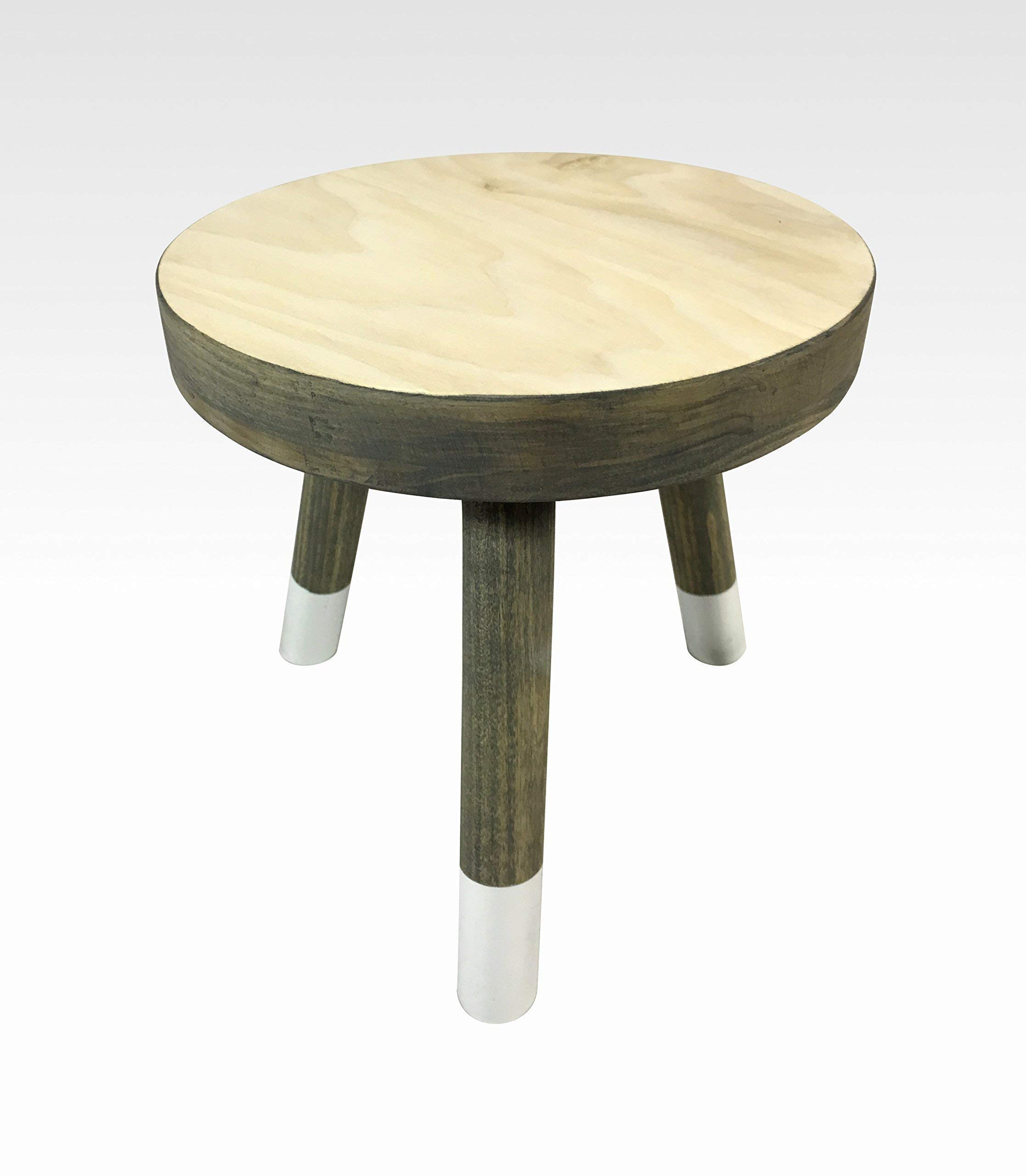 Modern Plant Stand Three Leg Stool by CW Furniture in Gray and White Indoor Wood Flower Pot Base Display Holder Solid Wooden Kids Chair Table Simple Minimalist Small by Candlewood Furniture