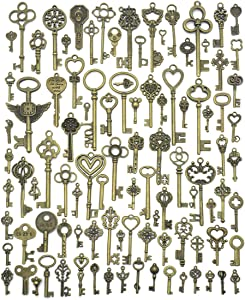 JIALEEY Vintage Skeleton Keys, Wholesale Bulk Lots Mixed Set of 100 Antique Bronze Brass Skeleton Castle Dungeon Pirate Keys, 10.5oz/300g