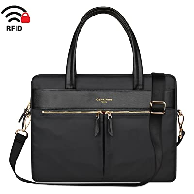 Cartinoe Laptop Tote Bag, Women Waterproof Laptop Bag Briefcase RFID Blocking Ultrathin Nylon Business Handbag Shoulder Messenger Bag For 14 15 inch Macbook Ultrabook For Ladies, Black