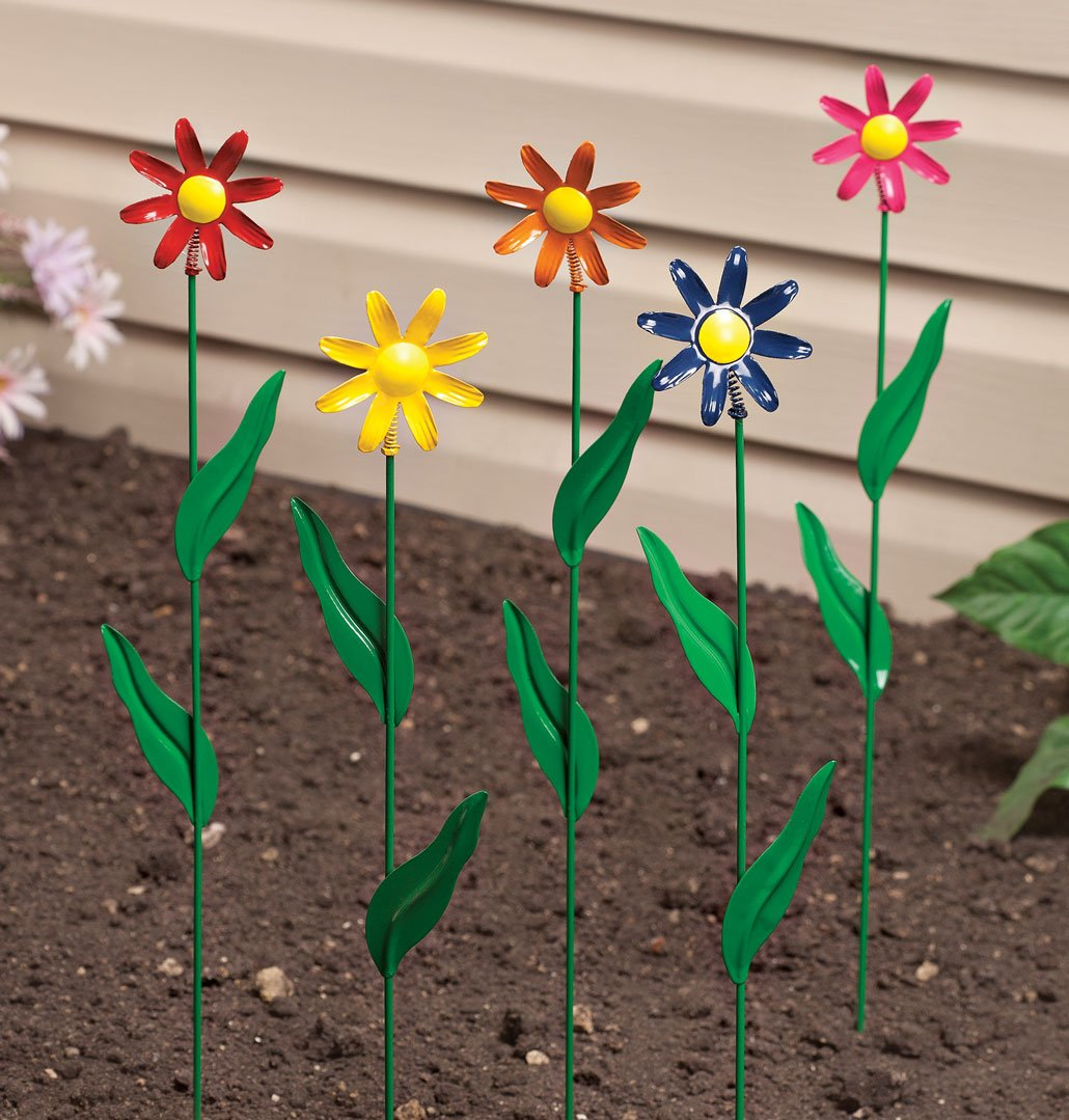 Metal Daisy Stakes, Set of 5 by Maple Lane CreationsTM by Miles Kimball (Image #2)