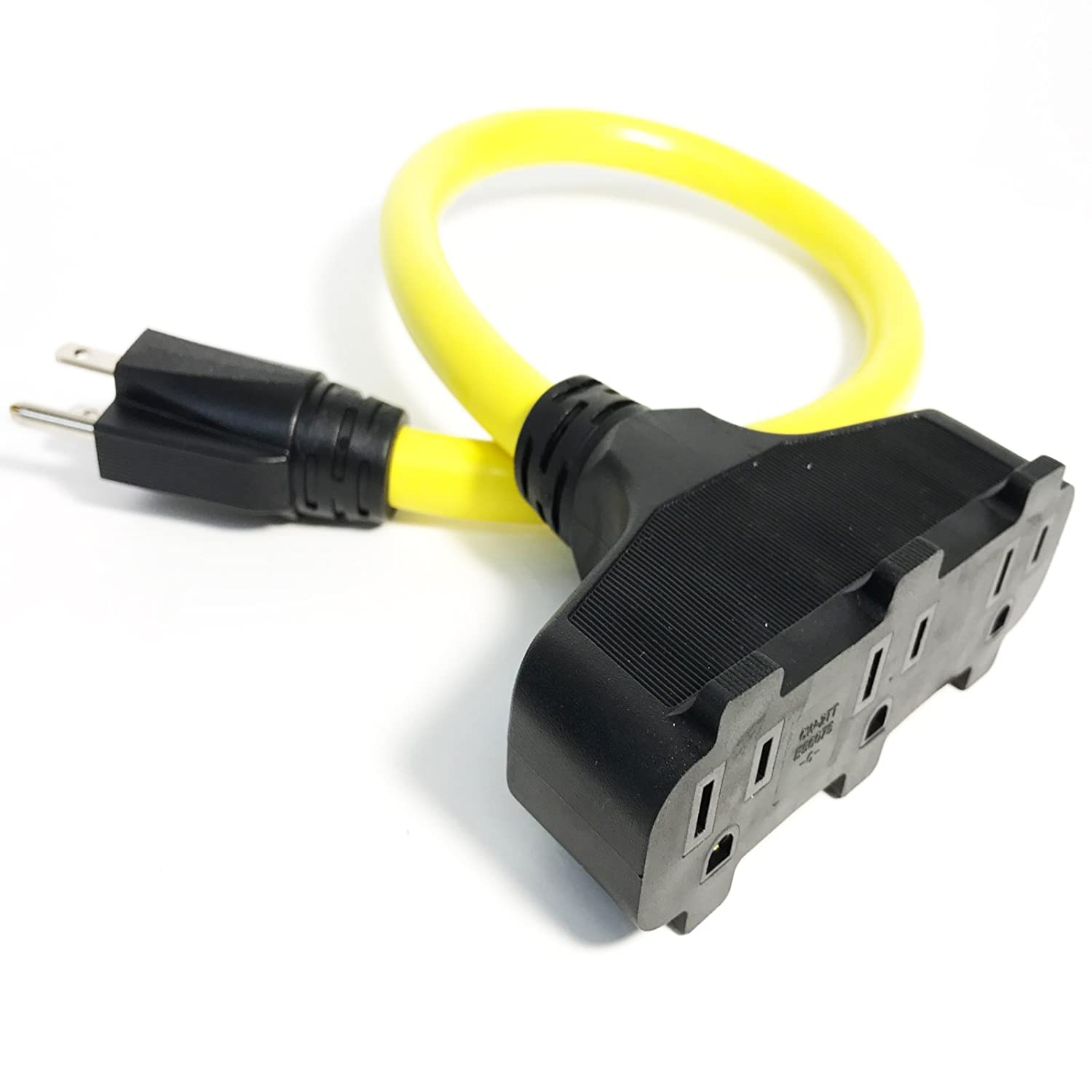 Bold 50027 2-Foot 12/3 Tritap Pigtail 2-Foot Heavy Duty Contractor Triple Tap Extension Cord Plug Adapter, Yellow Bold Inc