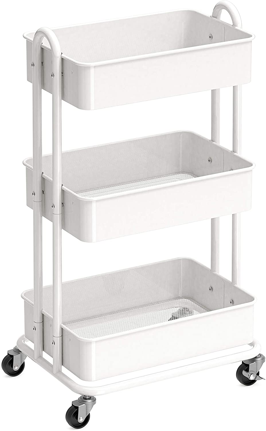 SimpleHouseware Heavy Duty 3-Tier Metal Utility Rolling Cart, White