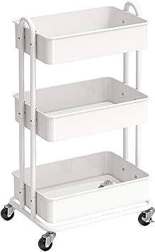 SimpleHouseware Heavy Duty 3-Tier Metal Utility Rolling Cart, White