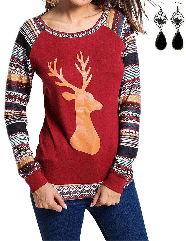 sitengle Womens Halloween Merry Christmas T Shirt Round Collar Cotton Long Sleeve All Saints' Day Xmas Blouse Tops CLO30345