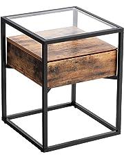 VASAGLE Table d'appoint, Table Basse de Style Industriel, Plateau en Verre trempé Tiroir, Table de Chevet, pour Salon, Chambre, Armature en Fer Rigide LET04BX