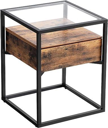 Bois Table D/'appoint Métal-En 2 Tailles déco table Table basse table de nuit panier