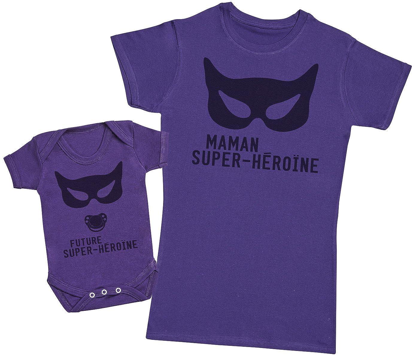 Femme T Shirt /& b/éb/é bodys Future Super-H/éro/ïne /& Maman Super-H/éro/ïne Ensemble M/ère B/éb/é Cadeau