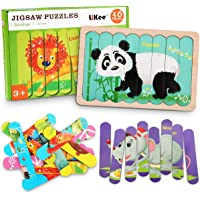 LiKee Animals Wooden Jigsaw Puzzles Pattern Blocks Sorting and Stacking Toys Peg Puzzle Preschool Montessori Educational…