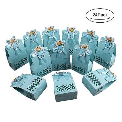 Amazon Com Aerwo 24pcs Blue Baby Shower Treats Boxes Paperboard