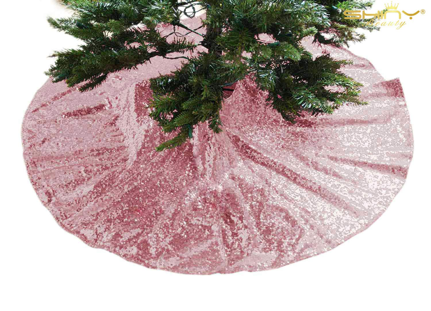 Christmas Tree Skirt 36inch Fuchsia Pink Sequin Tree Skirt Sparkle Rose Pink Xmas Tree Ornament Sequence Tree Skirt Gold Christmas Decoration Home