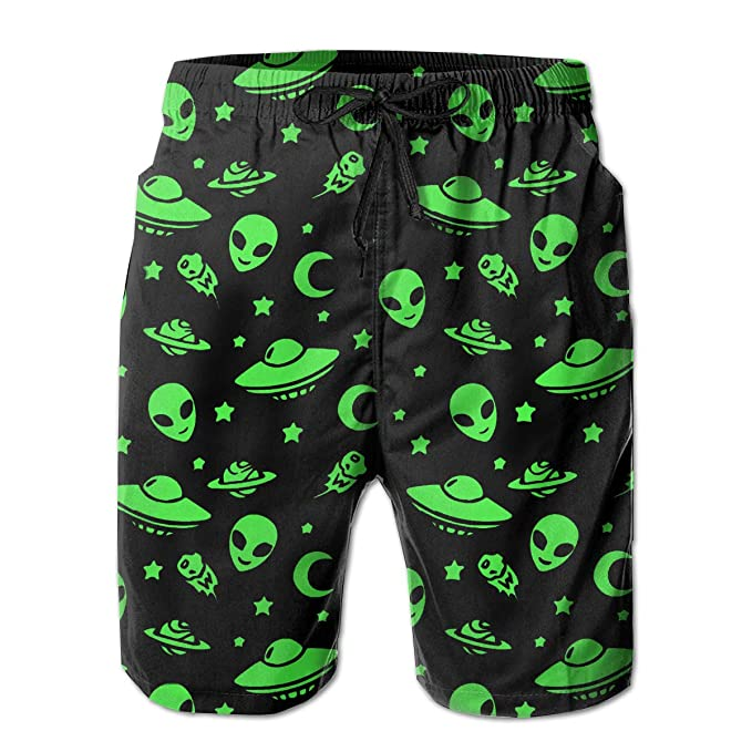 Aliens and UFO Space Pattern Men s Beach Pants Summer Casual Swim Shorts  with Pockets White eb2afd478