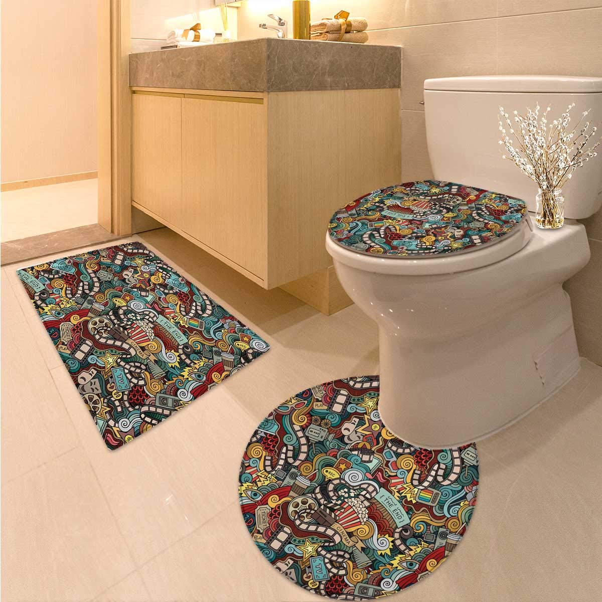 Doodle Toilet Rug and mat Set Cinema Items Combined in an Abstract Style Popcorn Movie Reel The End Theatre Masks 3 Piece Anti-Slip mat Set Multicolor