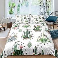 Feelyou Cactus Comforter Cover Set Boho Succulents Duvet Cover Botanical Floral Geometric Bedding Set for Kids Boys…