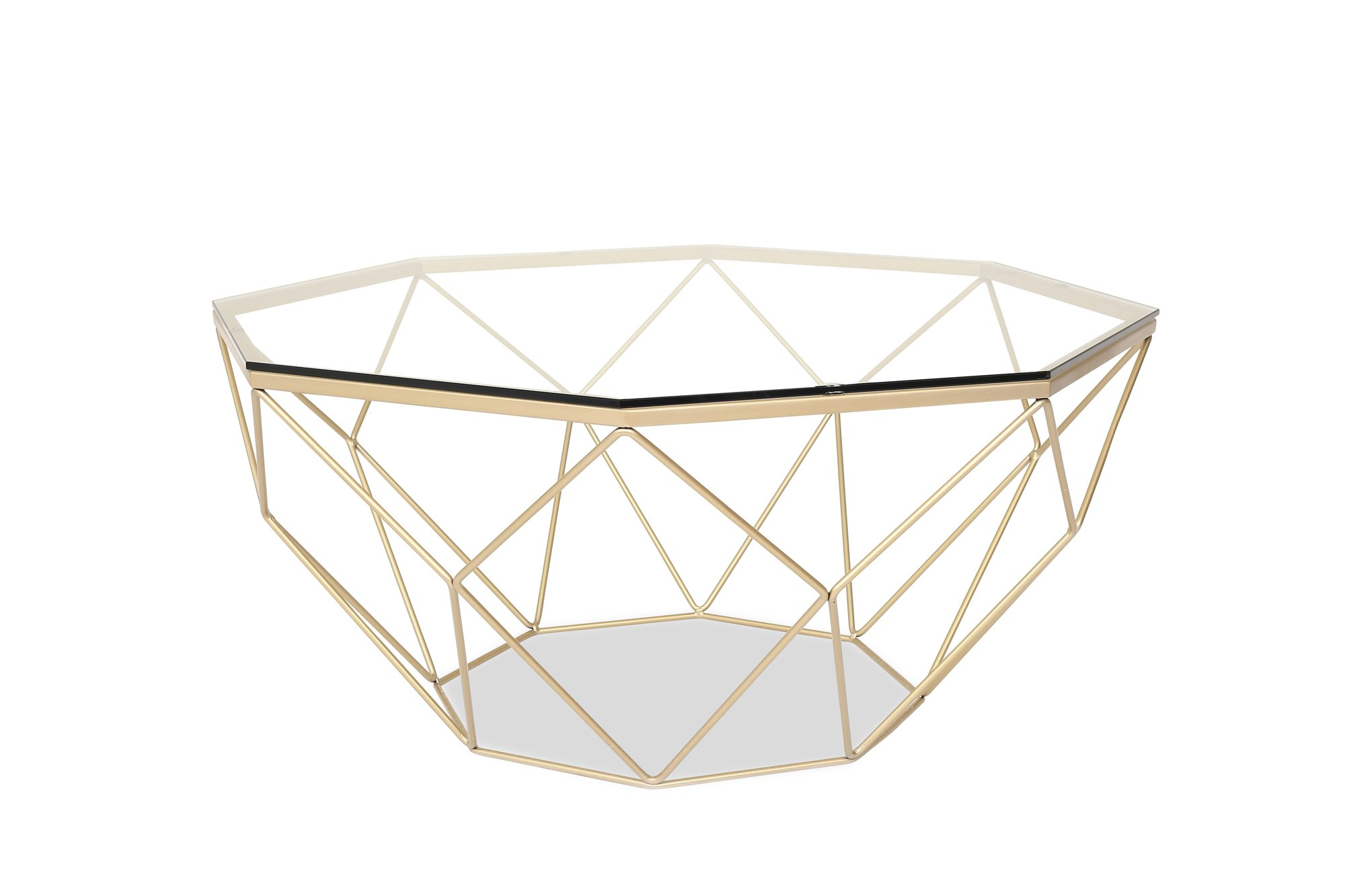 LUNA Modern Glass Coffee Table - Gold Coffee Tables for Living Room - Clear Glass Top by Edloe Finch