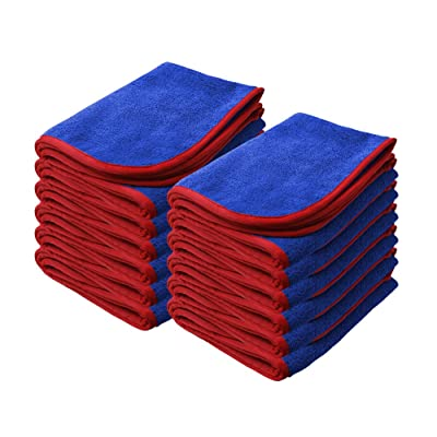 "Nanoskin Power Shine Microfiber Towel, Blue w/Red Silk Edge, 16"" x 24"", (12 Pack) [NAM-PS380B-12]: Automotive"