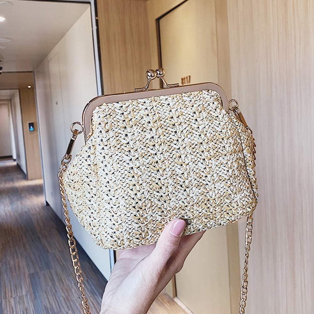IUaih4vv6 Fashion Summer Beach Women Kiss Lock Straw Woven Chain Crossbody Shoulder Bag Personality Casual Trend Bag