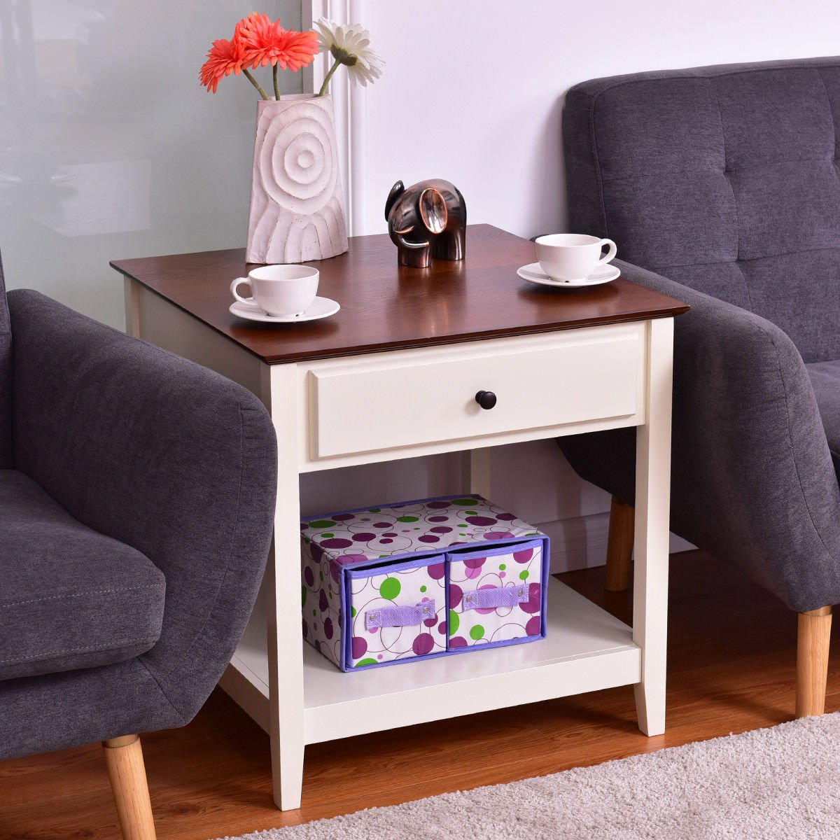Giantex Wood End Table with Drawer Storage Shelf Night Stand Coffee Table, Walnut White