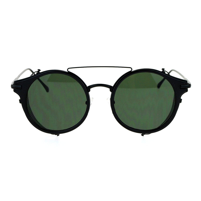 3d5f784746 Amazon.com  SA106 Steam Punk Vintage Folding Side Visor Round Pilot  Sunglasses All Black  Clothing