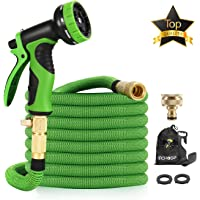 """15M Garden Hose - ALL NEW Expandable Garden Hose with Double Latex Core, 3/4"""" Solid Brass Fittings, Australian Standard Universal Tap Adaptor, Expandable Water Hose Set for Car Wash, Extra Strength Fabric - Flexible Expanding Water Hose with 9 Function Spray Nozzle by McHose (Green)"""