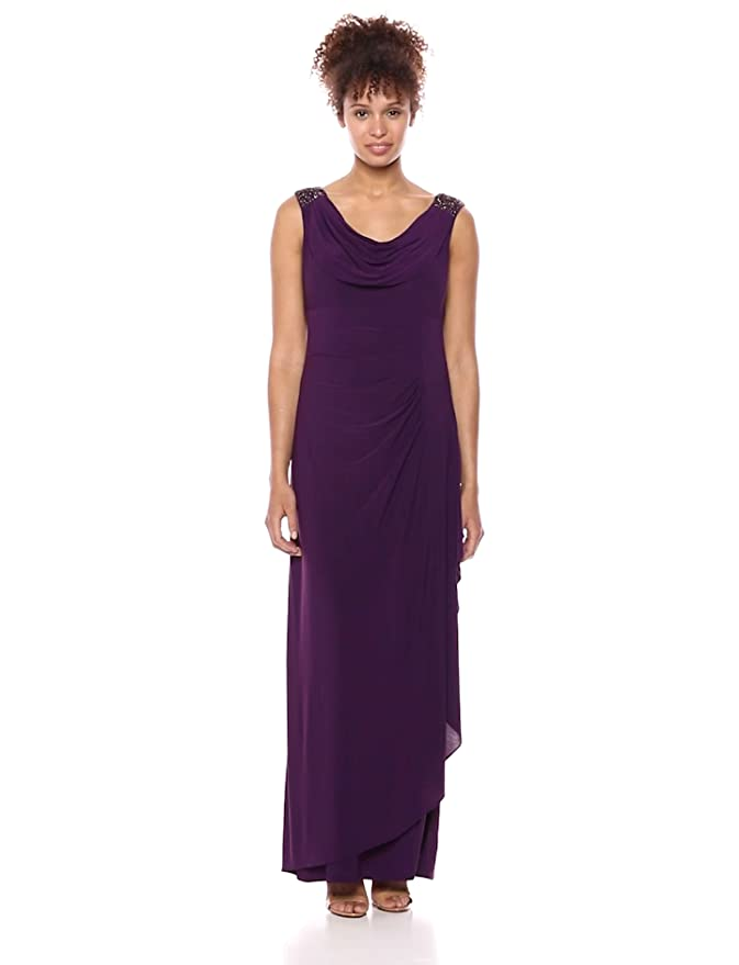 And Beaded Alex Evenings Women's Cowl Long Dress With Shoulders rCBhsxtQdo