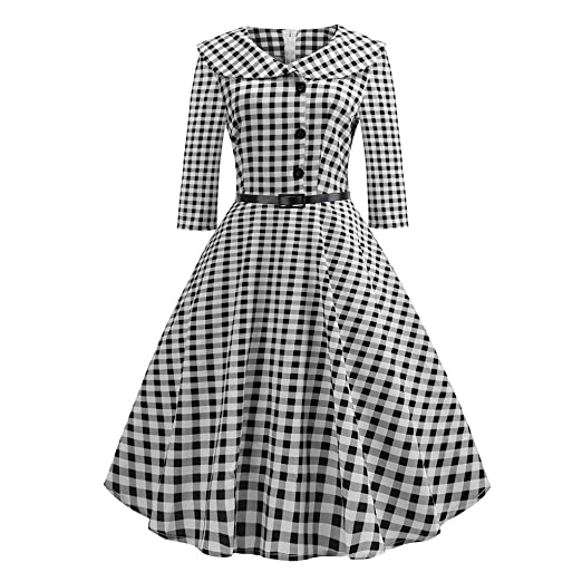67d6761b1f7 Kehen Women 1950s Vintage Long Sleeve Plaid Swing Dress with Blet Retro  Rockabilly Hepburn Pleated Cocktail