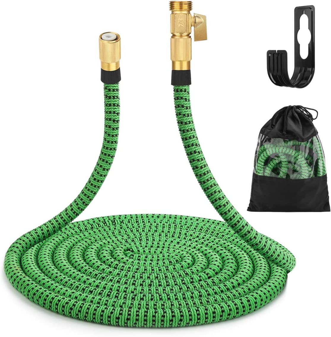 "Gobetter Garden Hose, 100 ft Expandable Water Hose with 3/4"" Standard Solid Brass Connectors, Pocket Hose Lightweight/Flexible/Leak Proof/Durable"