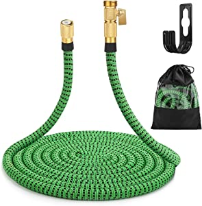 """Gobetter Expandable Garden Hose 50 ft with Triple Latex Core, 3/4"""" Solid Brass Fittings Super Durable 3750D Fabric Flexible Hose with Storage Bag"""