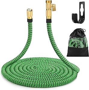 "Gobetter Garden Hose, 100 ft Expandable Water Hose with 3/4"" Standard Solid Brass Connectors, Pocket Hose Lightweight/Flexible/Leak Proof/Durable"