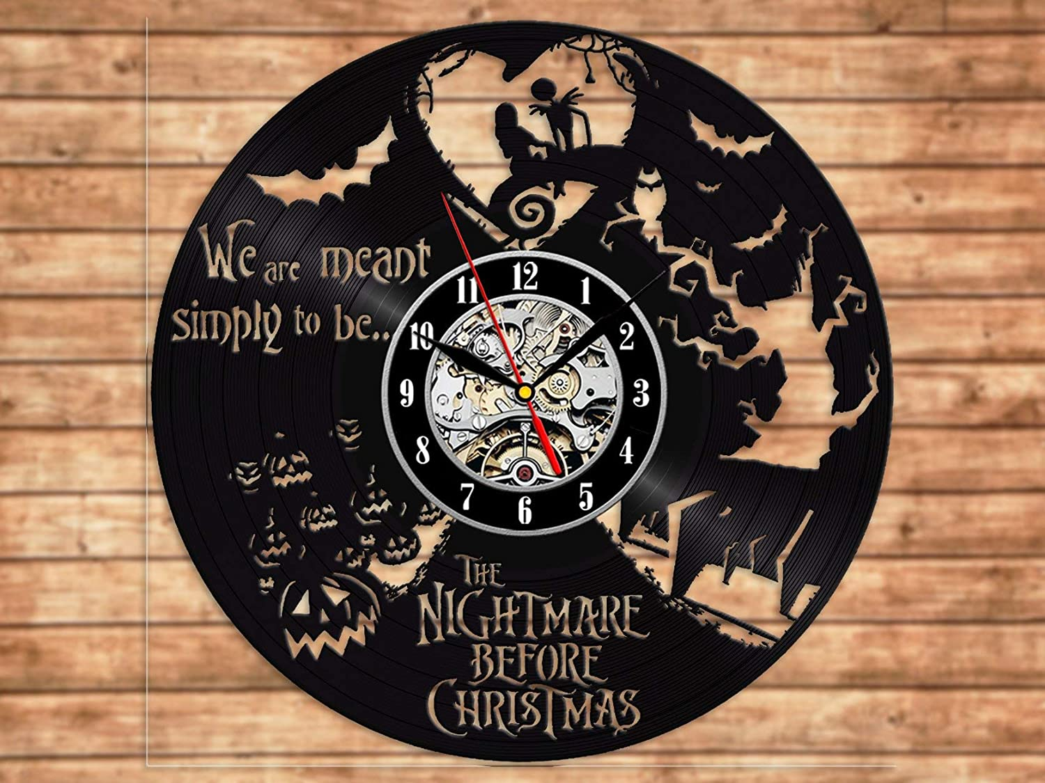 Home & Crafts The Nightmare Before Christmas Vinyl Clock Vinyl Record Wall Art Handmade Decor Best Original Vintage Gift for Fans Room Decoration Deco (One Pack)