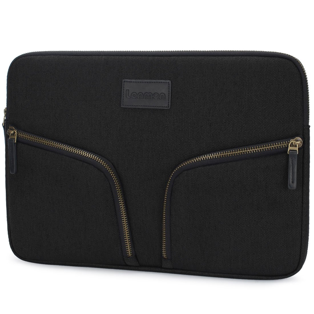 LONMEN 15.6 inch Laptop Sleeve Protective Waterproof Carrying Case Handbag Cover for Most 15-15.6 Lenovo Asus Dell Acer Toshiba HP Envy Notebook Bag with Accessory Pocket,Black