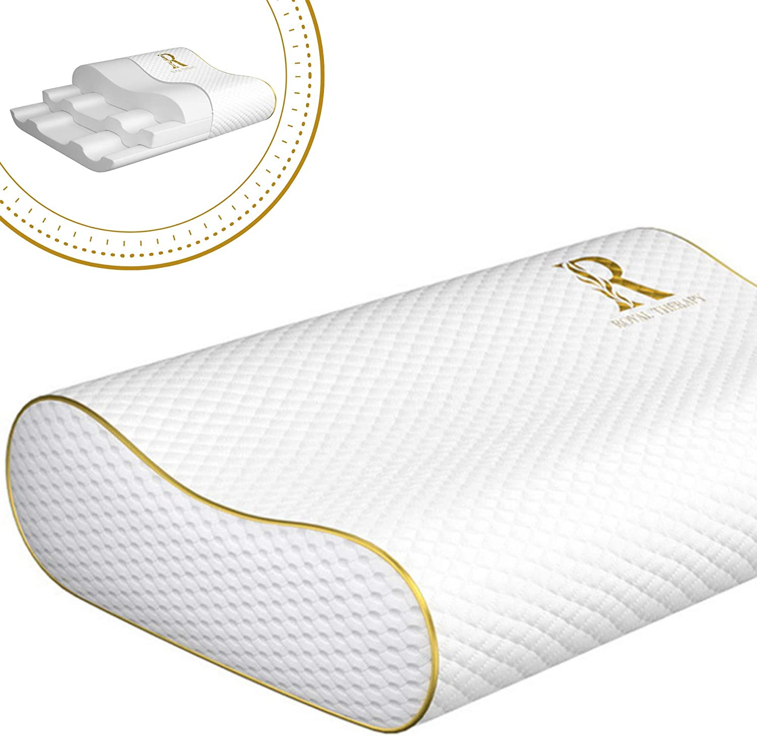 Royal Therapy King Memory Foam Pillow, Neck Pillow Bamboo Adjustable Side Sleeper Pillow for Neck & Shoulder, Support for Back, Stomach, Side Sleepers, Orthopedic Contour