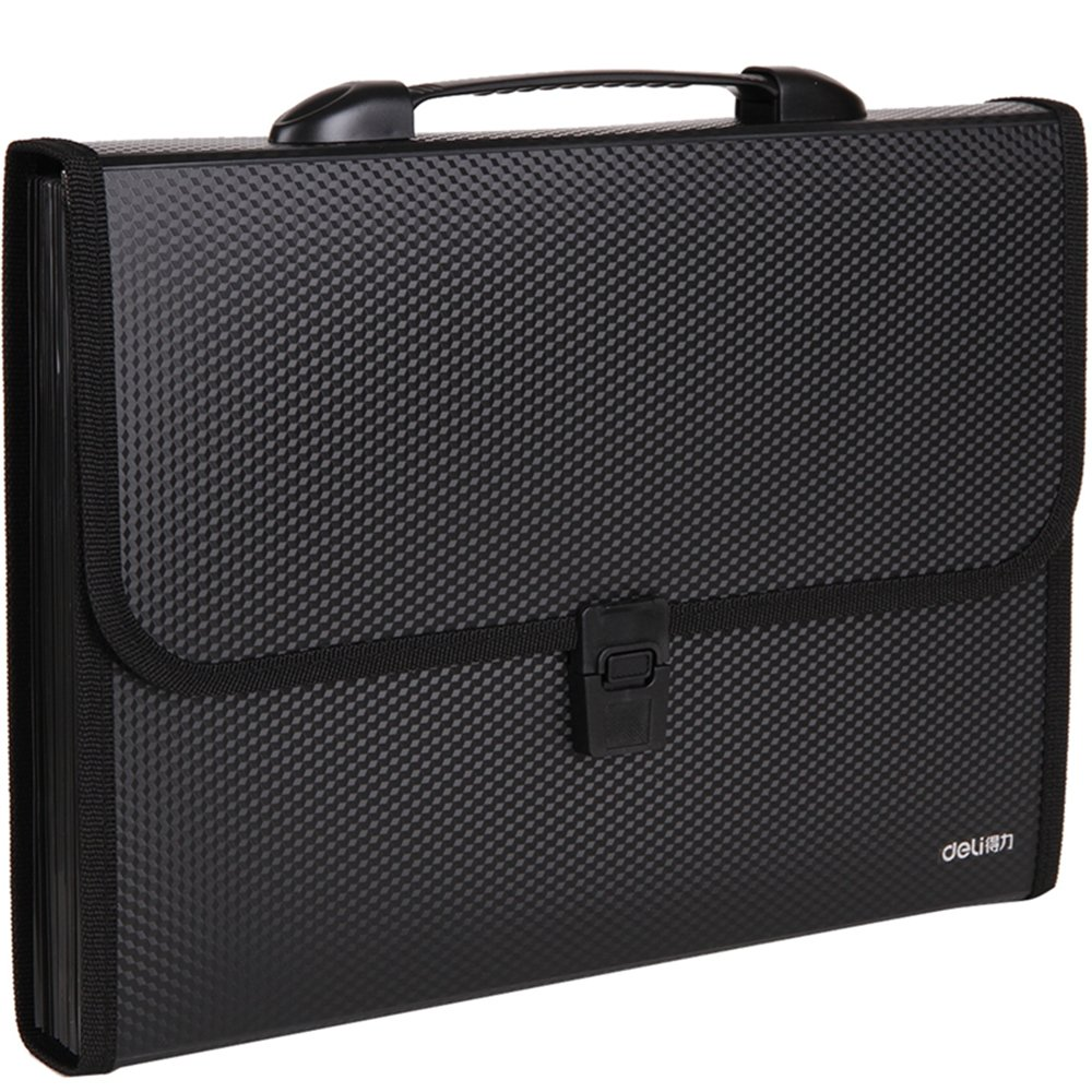 DeLi 13-Pockets Poly Expanding File Folder with Portable-Handle, Letter Size/A4,13.18x9.64(black)