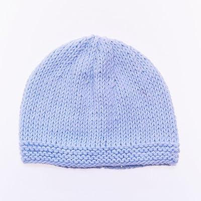 Bonnet de Naissance Bébé 100% Coton Fait Main : - 0 - 3mois / Bleu