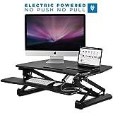 Mount-It! Electric Standing Desk Converter, Motorized Sit Stand Workstation, Ergonomic Height Adjustable Tabletop Desk, Black