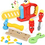 STEAM Life 14 Pcs Cartoon Kids Tool Set for Toddlers - Kids Tool Box - Kids Tool Kit Contains Cute Battery Powered Toy Saw wi