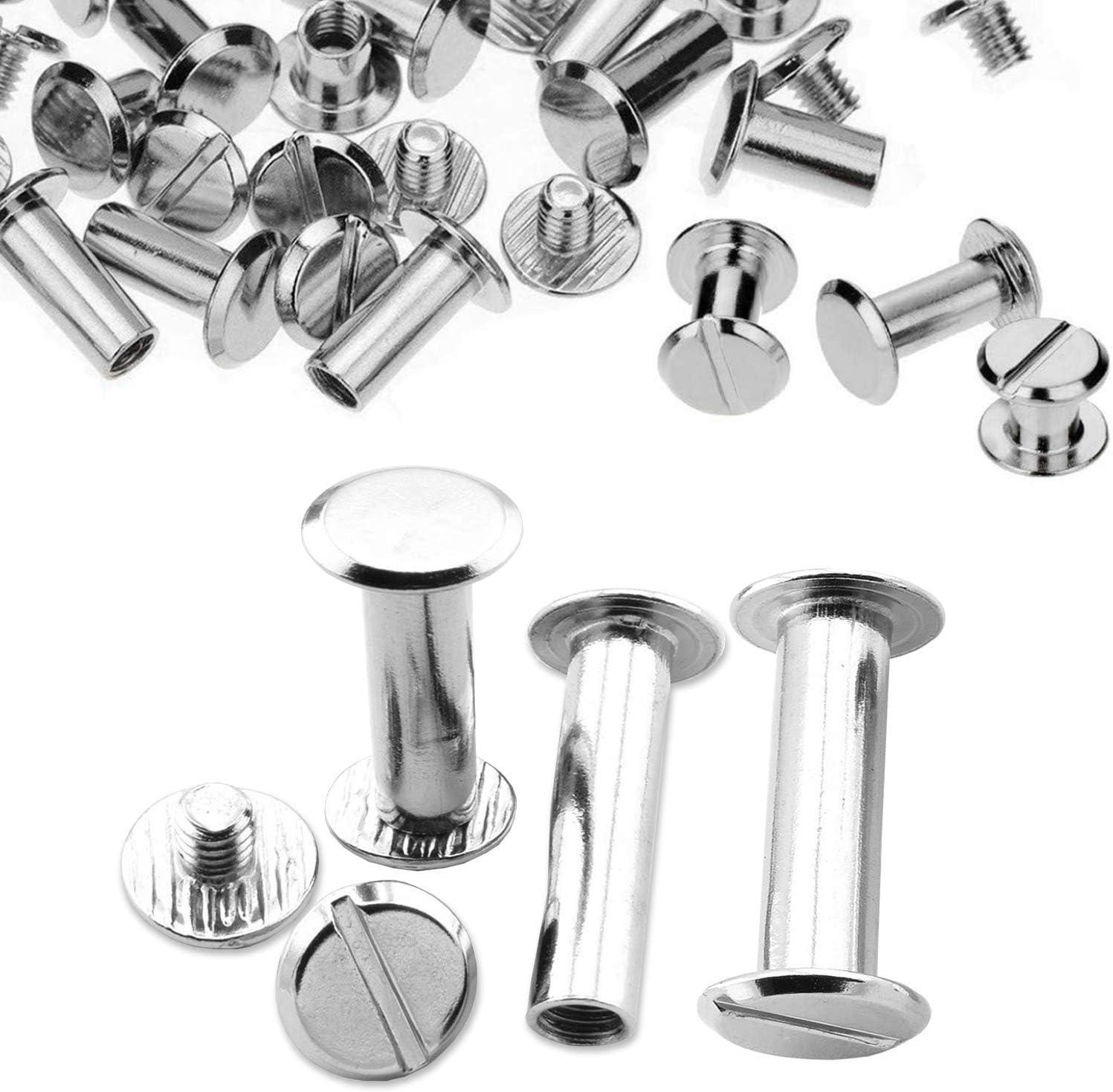resistente per lavori fai da te rivetti a vite Chicago a testa piatta argento decorazione in ottone resistente artigianato 10 pezzi Trimming Shop