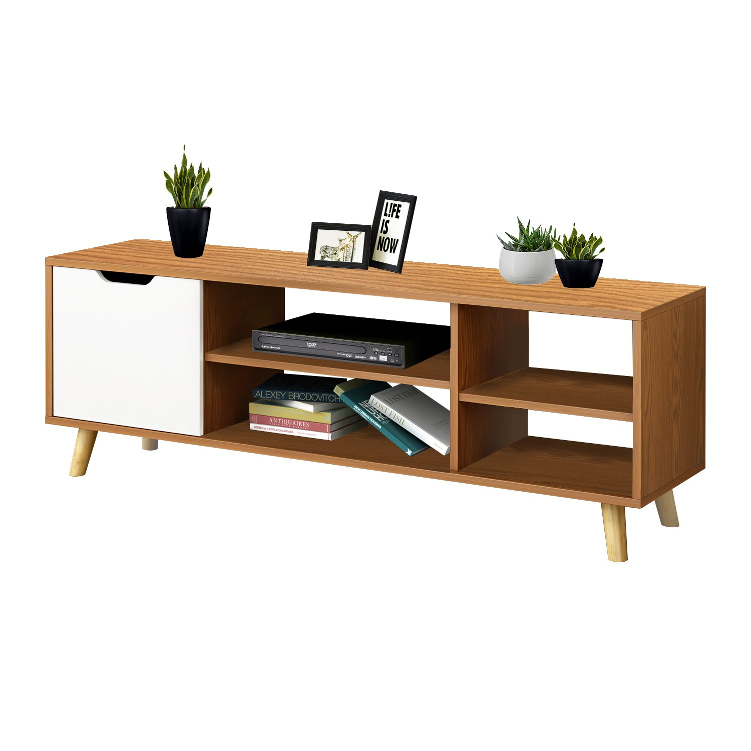 DL Furniture - Luxury 3D 3-Tier Entertainment TV Stand with Multiple Shelf and Storage Rack, 4 Stable Legs Support/Nature Wood