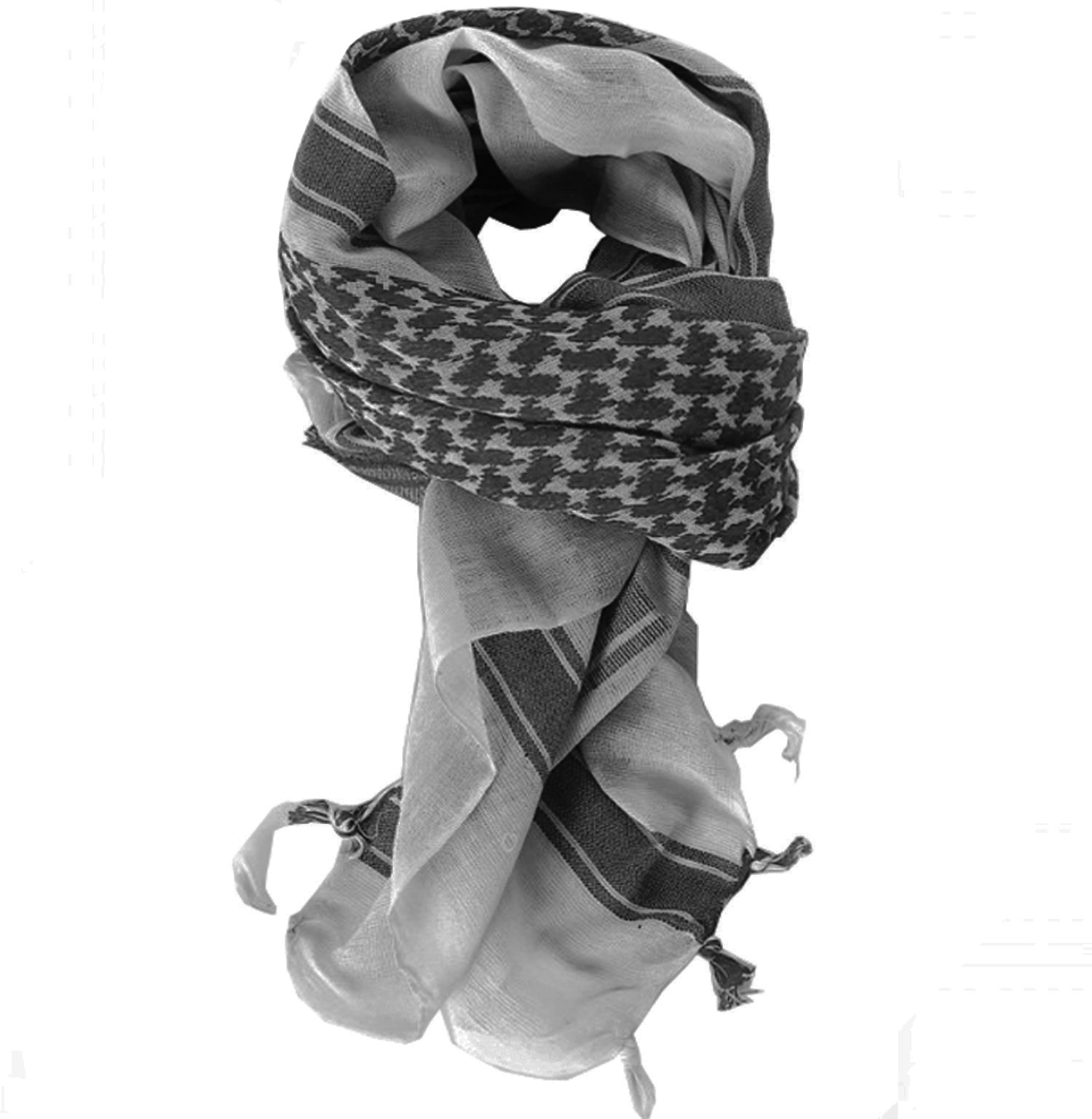 100% Cotton Keffiyeh Tactical Desert Scarf Wrap Shemagh Head Neck Arab Scarf Gray by MAGNIVIT (Image #5)