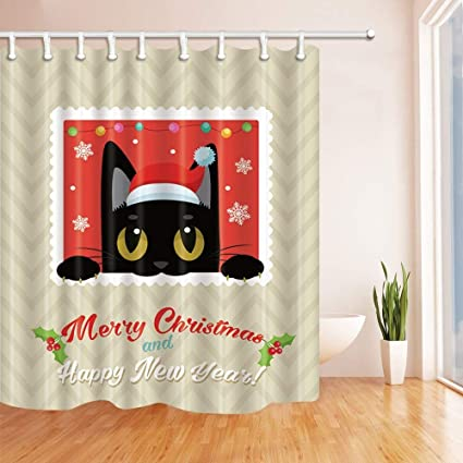 SZZWY Happy Year Decor Funny Black Cat With Christmas Hat Mildew Resistant Polyester Fabric Shower Curtains