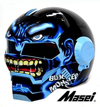 masei 610 Monster de moto chopper Casco S/M/L/XL (Azul