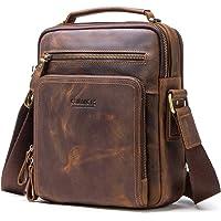 CONTACT'S- Genuine Leather Mens iPad Mini Messenger Crossbody Tab Bag Tote Briefcase (Coffee)
