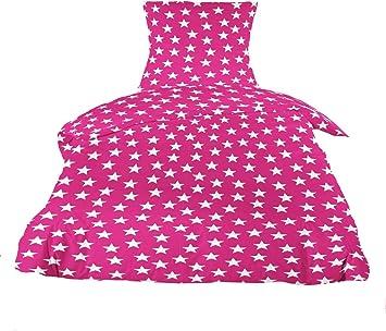 570bae6124 MISTRAL Home Stars Flanell Bettwäsche 135x200cm Stern Sterne Pink Weiß  Baumwolle