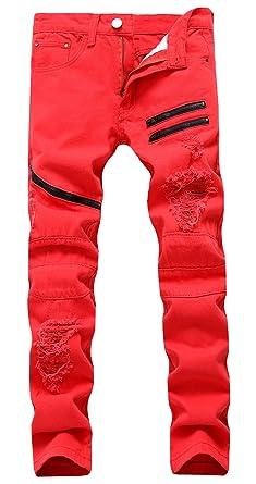 Amazon.com: Panegy Hombre multi-zipper Jeans envejecido ...